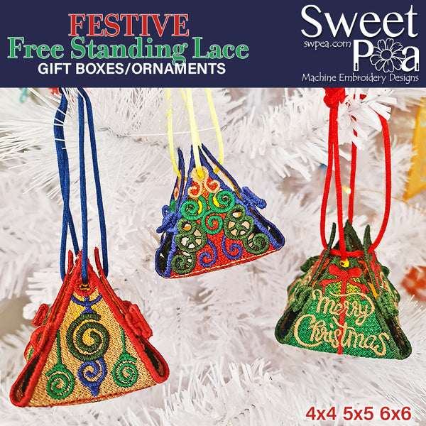 Festive FSL Gift Boxes or Ornaments 4x4 5x5 6x6