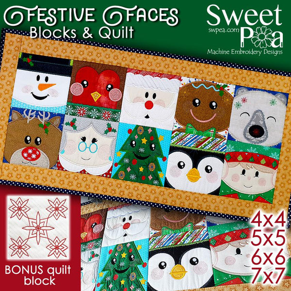 Festive Faces Blocks and Quilt 4x4 5x5 6x6 and 7x7 - Sweet Pea In The Hoop Machine Embroidery Design