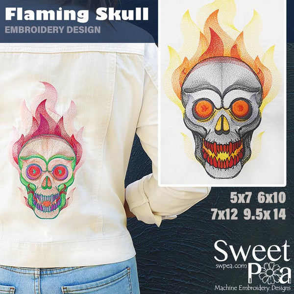 Flaming Skull Embroidery Design 5x7 6x10 7x12 9.5x14 - Sweet Pea In The Hoop Machine Embroidery Design
