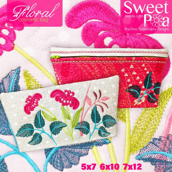 Floral Cosmetic Bag 5x7 6x10 7x12 - Sweet Pea In The Hoop Machine Embroidery Design