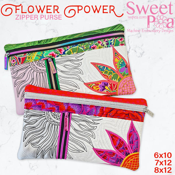 Flower Power Zipper Purse 6x10 7x12 8x12