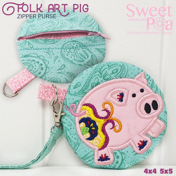 Folk Art Pig Purse 4x4 5x5 - Sweet Pea In The Hoop Machine Embroidery Design