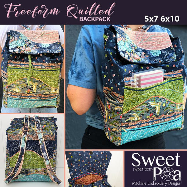 Freeform Quilted Backpack 5x7 and 6x10 - Sweet Pea In The Hoop Machine Embroidery Design