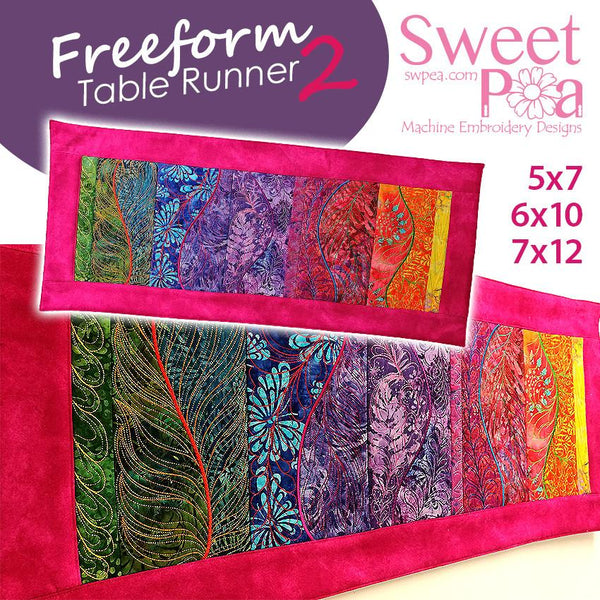 Freeform Table Runner V2 5x7 6x10 7x12 - Sweet Pea In The Hoop Machine Embroidery Design