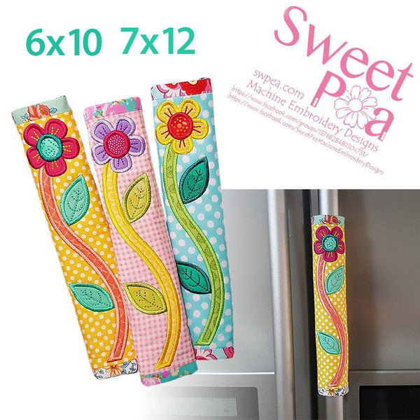 Flower fridge handle wrap 6x10 and 7x12 - Sweet Pea In The Hoop Machine Embroidery Design