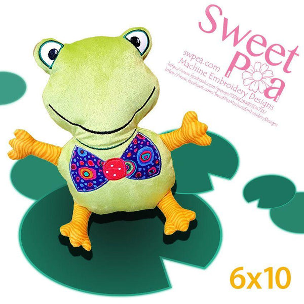 Frog Stuffed Toy 6x10 - Sweet Pea In The Hoop Machine Embroidery Design