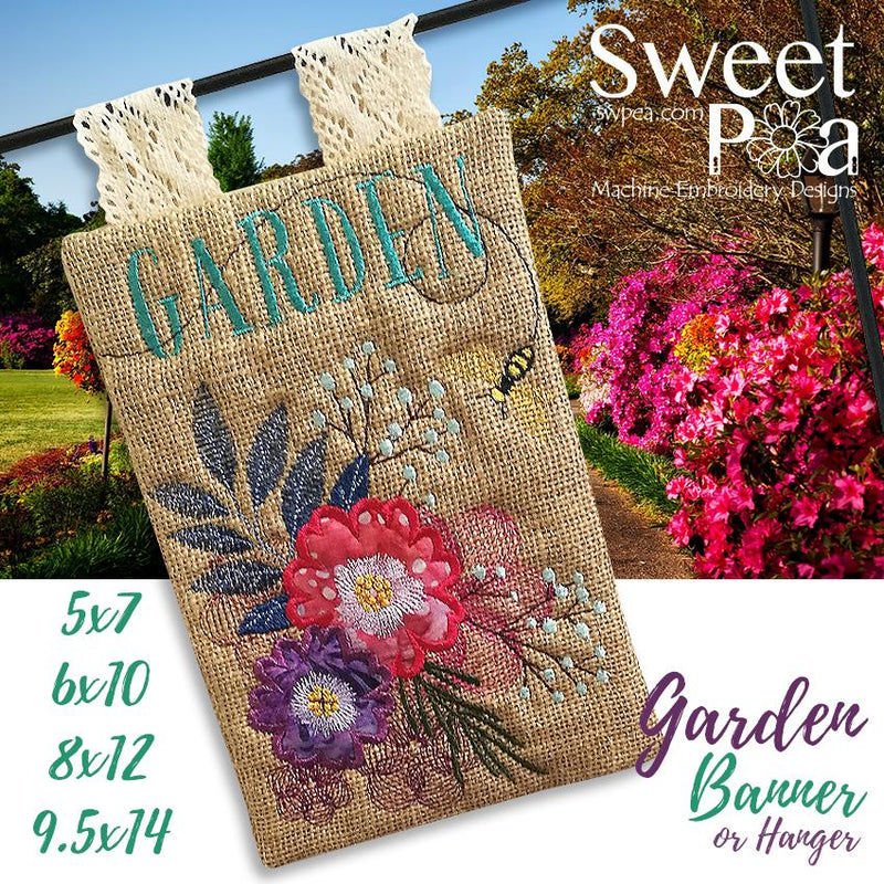 Garden Banner or Flag 5x7 6x10 8x12 9.5x14 - Sweet Pea In The Hoop Machine Embroidery Design