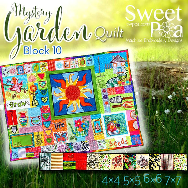Mystery Garden BOM Sew Along Quilt Block 10 - Sweet Pea In The Hoop Machine Embroidery Design