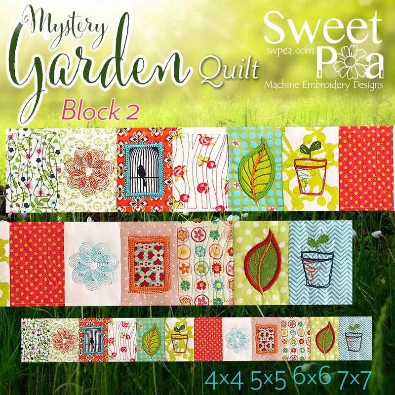 Mystery Garden BOM Sew Along Quilt Block 2 - Sweet Pea In The Hoop Machine Embroidery Design