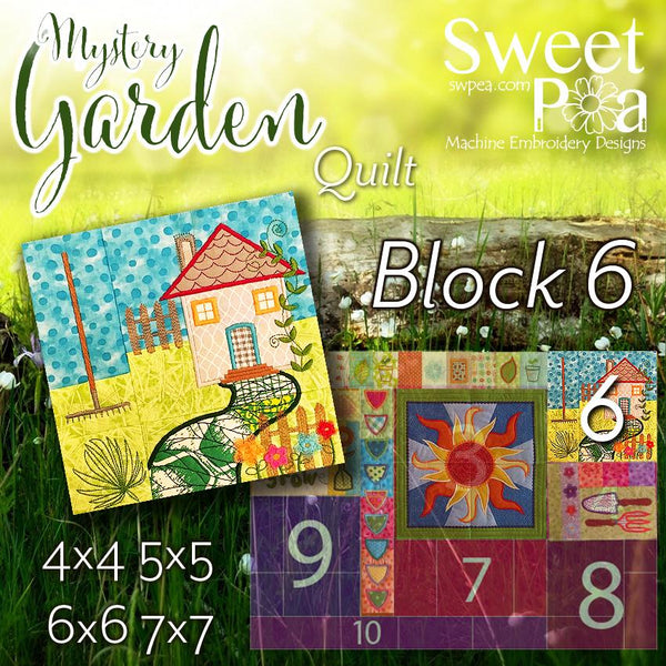 Mystery Garden BOM Sew Along Quilt Block 6 - Sweet Pea In The Hoop Machine Embroidery Design