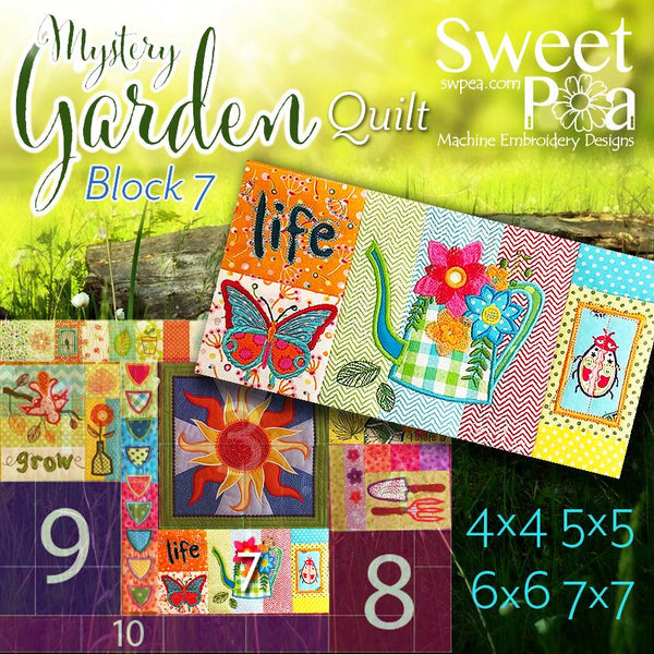 Mystery Garden BOM Sew Along Quilt Block 7 - Sweet Pea In The Hoop Machine Embroidery Design