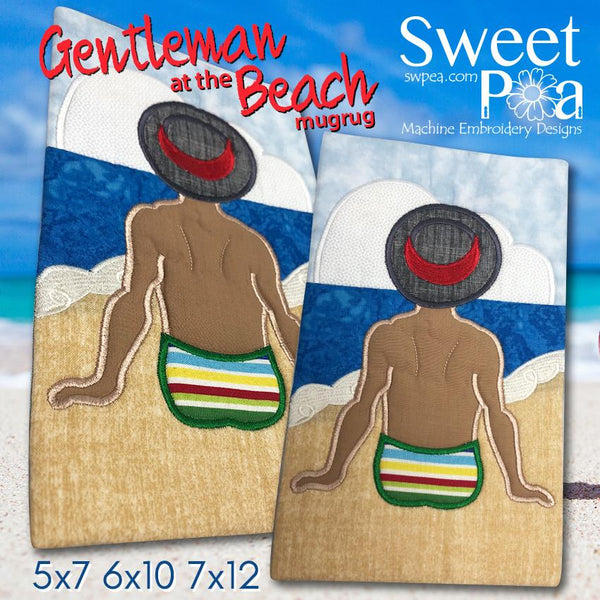 Gentleman at the Beach Mugrug 5x7 6x10 and 7x12 - Sweet Pea In The Hoop Machine Embroidery Design