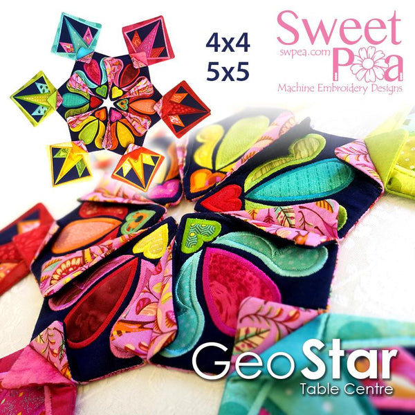 Geo Star Table Centre 4x4 5x5 - Sweet Pea In The Hoop Machine Embroidery Design