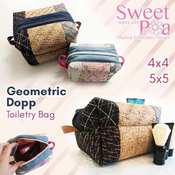 Geometric Dopp Toiletry Bag 4x4 and 5x5 - Sweet Pea In The Hoop Machine Embroidery Design