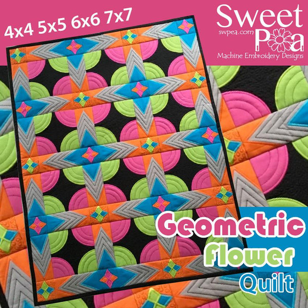 Geometric Flower Quilt 4x4 5x5 6x6 - Sweet Pea In The Hoop Machine Embroidery Design