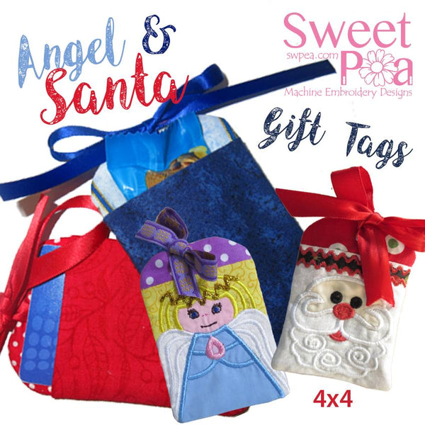 Gift Tags Set Angel and Santa 4x4 - Sweet Pea In The Hoop Machine Embroidery Design