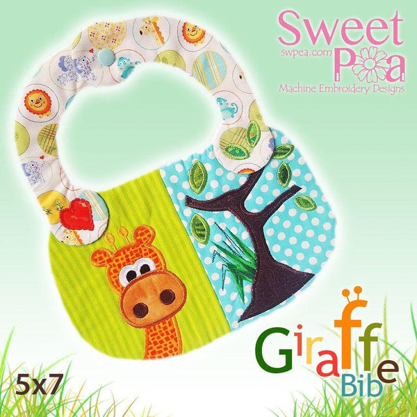 Giraffe Baby Bib ITH in the Hoop 5x7 - Sweet Pea In The Hoop Machine Embroidery Design