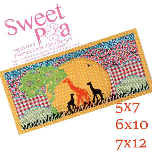 Giraffe Table Runner 5x7 6x10 7x12 - Sweet Pea In The Hoop Machine Embroidery Design