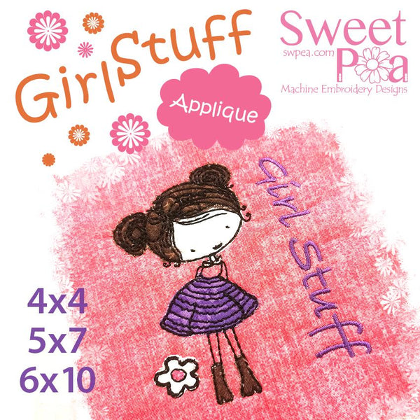 Girl Stuff Machine Embroidery 4x4 5x7 6x10 - Sweet Pea In The Hoop Machine Embroidery Design