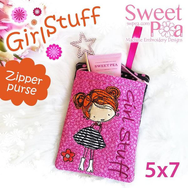 Girl Stuff Zipper Purse 5x7 - Sweet Pea In The Hoop Machine Embroidery Design