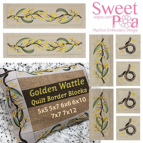 Golden Wattle Quilt Border 5x5 5x7 6x6 6x10 7x7 7x12 - Sweet Pea In The Hoop Machine Embroidery Design