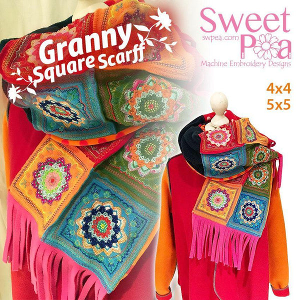 Granny Square Scarf 4x4 5x5 - Sweet Pea In The Hoop Machine Embroidery Design