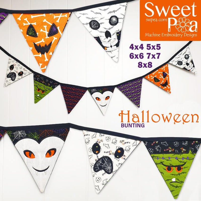Halloween Bunting 4x4 5x5 6x6 7x7 8x8 - Sweet Pea In The Hoop Machine Embroidery Design