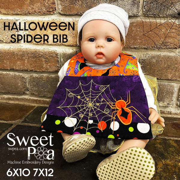 Halloween Spider Bib 6x10 and 7x12 - Sweet Pea In The Hoop Machine Embroidery Design