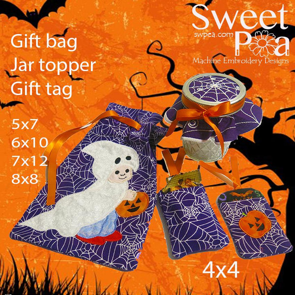 Halloween Gift Bag, Jar Topper and Gift Tag Set - Sweet Pea In The Hoop Machine Embroidery Design