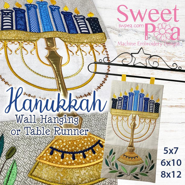 Hanukkah Wall Hanging 5x7 6x10 8x12 - Sweet Pea In The Hoop Machine Embroidery Design