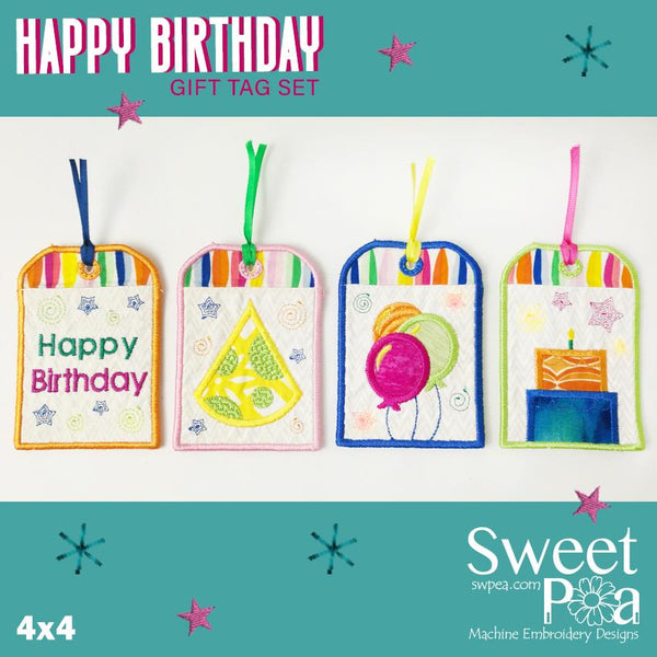 Happy Birthday Gift Tag Set 4x4 - Sweet Pea In The Hoop Machine Embroidery Design