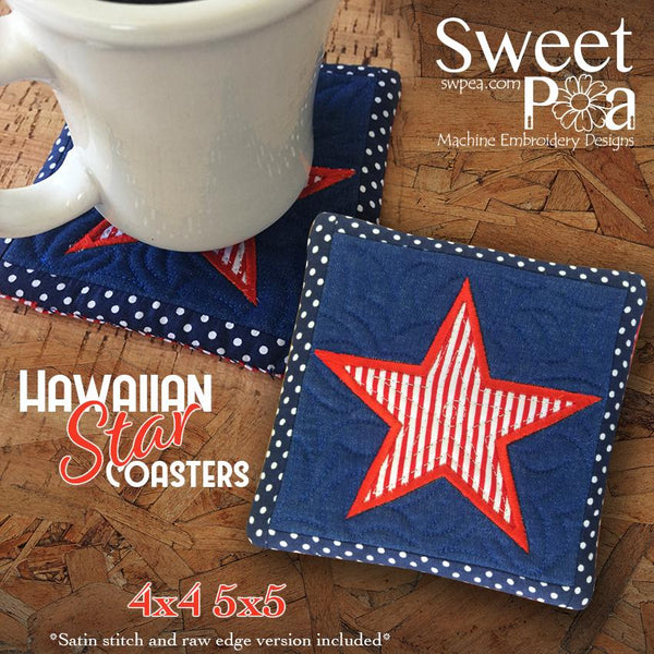 Hawaiian Star Coaster 4x4 5x5 - Sweet Pea In The Hoop Machine Embroidery Design
