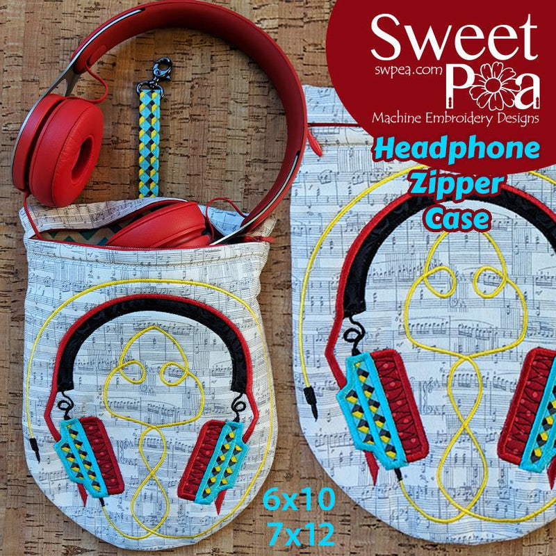 Headphone Zipper Case 6x10 and 7x12 - Sweet Pea In The Hoop Machine Embroidery Design