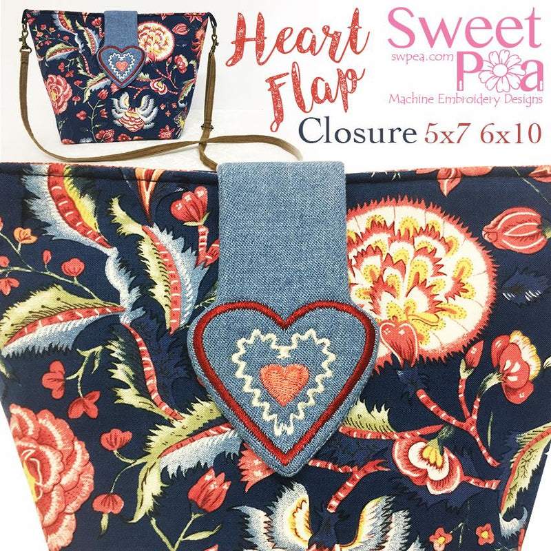 Heart Flap Closure 5x7 and 6x10 - Sweet Pea In The Hoop Machine Embroidery Design