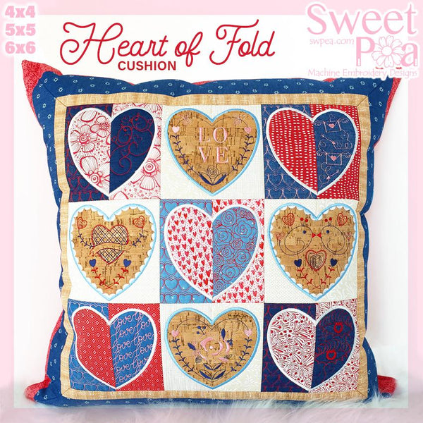 Heart of Fold Cushion 4x4 5x5 and 6x6 - Sweet Pea In The Hoop Machine Embroidery Design
