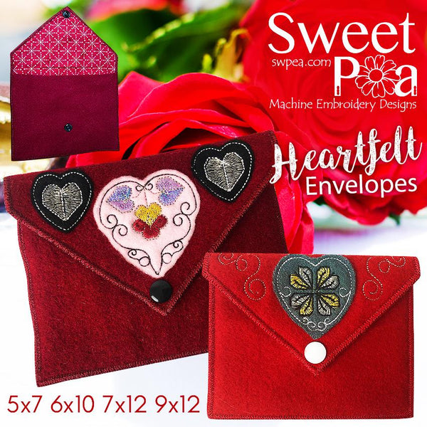 Heartfelt Envelopes 5x7 6x10 7x12 9x12 - Sweet Pea In The Hoop Machine Embroidery Design