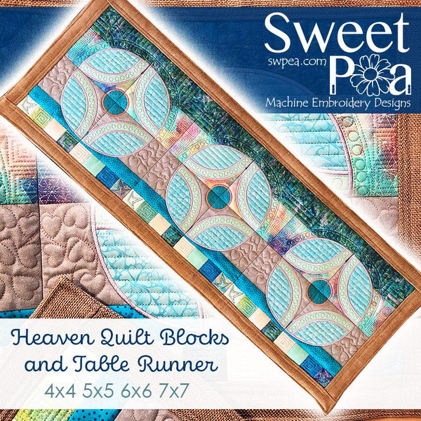 Heaven Quilt Block and Table Runner 4x4 5x5 6x6 or 7x7 - Sweet Pea In The Hoop Machine Embroidery Design