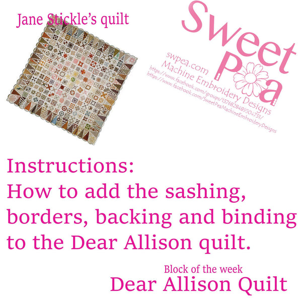 How To Add The Sashing, Borders and Binding to the Dear Allison Quilt. - Sweet Pea In The Hoop Machine Embroidery Design