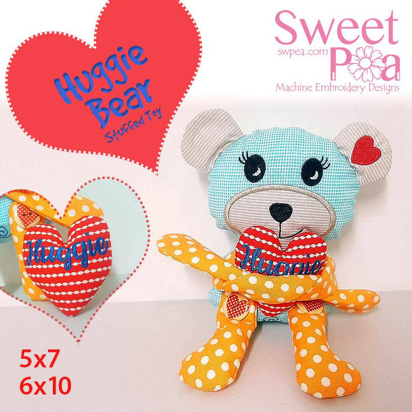 Huggie Bear Stuffie Stuffed Toy 5x7 6x10 - Sweet Pea In The Hoop Machine Embroidery Design