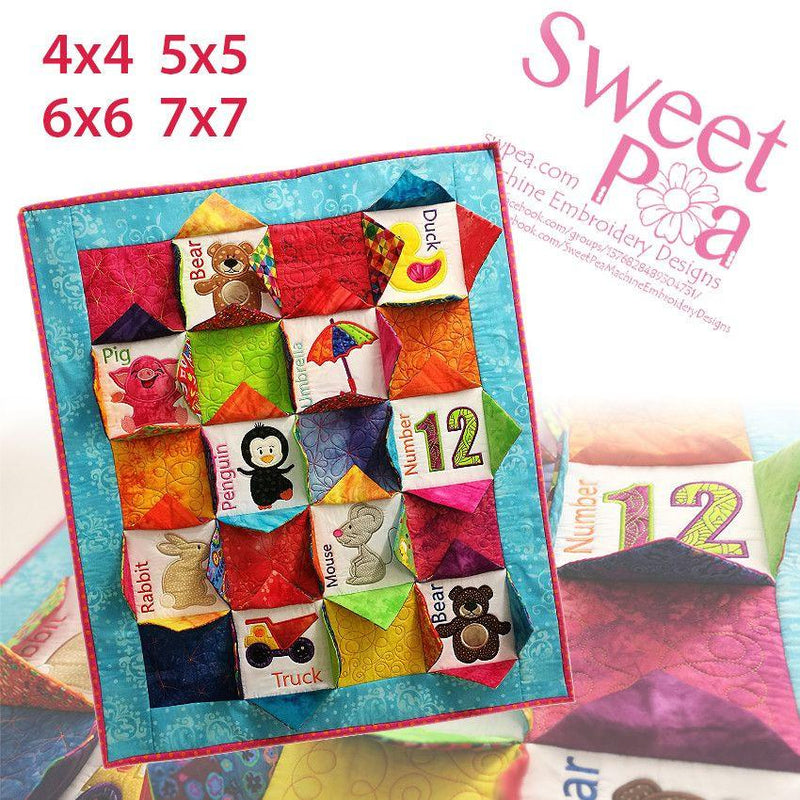 I Spy Quilt 4x4 5x5 6x6 7x7 - Sweet Pea In The Hoop Machine Embroidery Design