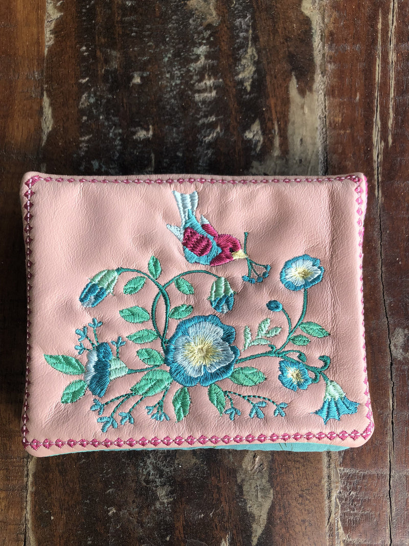Floral Wallet and Passport Wallet 6x10 8x12 - Sweet Pea In The Hoop Machine Embroidery Design