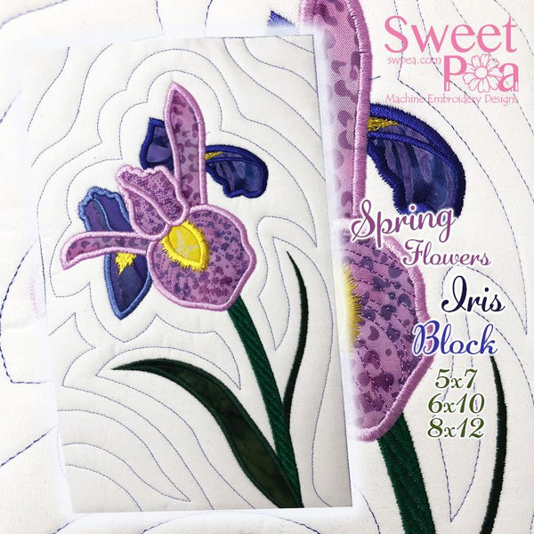 Iris Flower Block Add-on 5x7 6x10 8x12 - Sweet Pea In The Hoop Machine Embroidery Design
