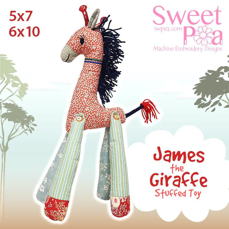 James The Giraffe Stuffed Toy 5x7 6x10 - Sweet Pea In The Hoop Machine Embroidery Design
