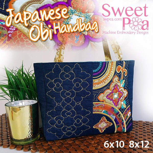 Japanese Obi Tote Bag 6x10 8x12 - Sweet Pea In The Hoop Machine Embroidery Design