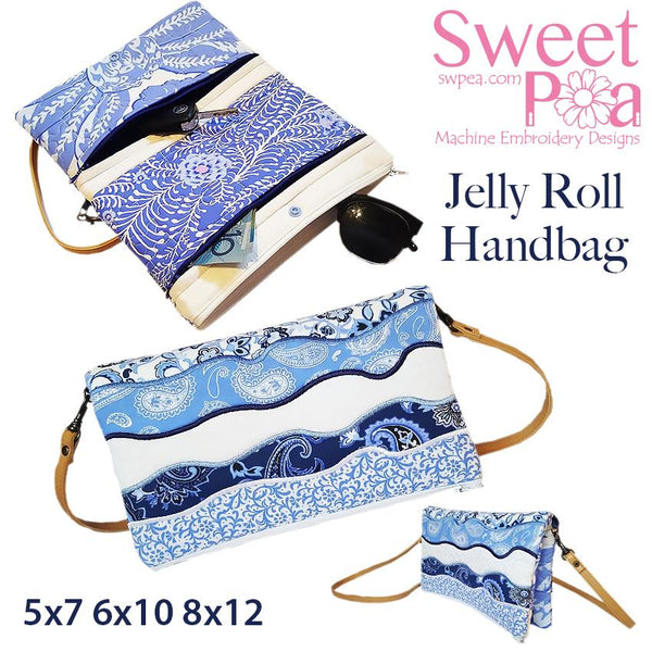 Jelly Roll Handbag 5x7 6x10 and 8x12 - Sweet Pea In The Hoop Machine Embroidery Design