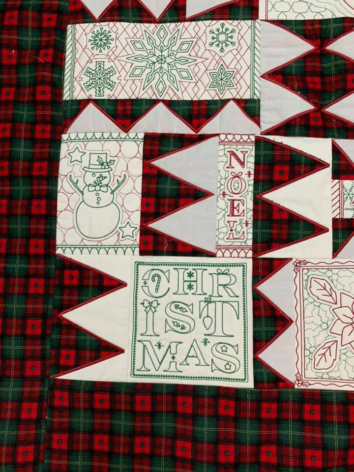 Emma's Christmas Redwork Quilt 6x10