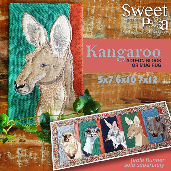Kangaroo Add-on Block or Mug Rug 5x7 6x10 and 7x12 - Sweet Pea In The Hoop Machine Embroidery Design