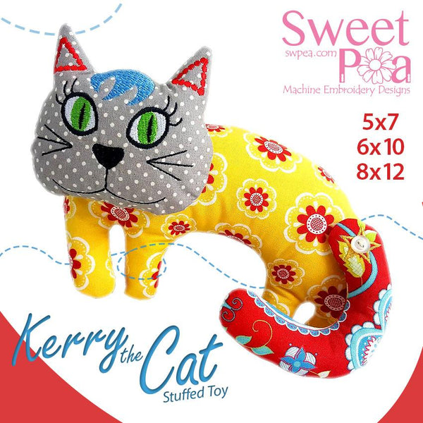 Kerry The Cat Stuffed Toy 5x7 6x10 8x12 - Sweet Pea In The Hoop Machine Embroidery Design