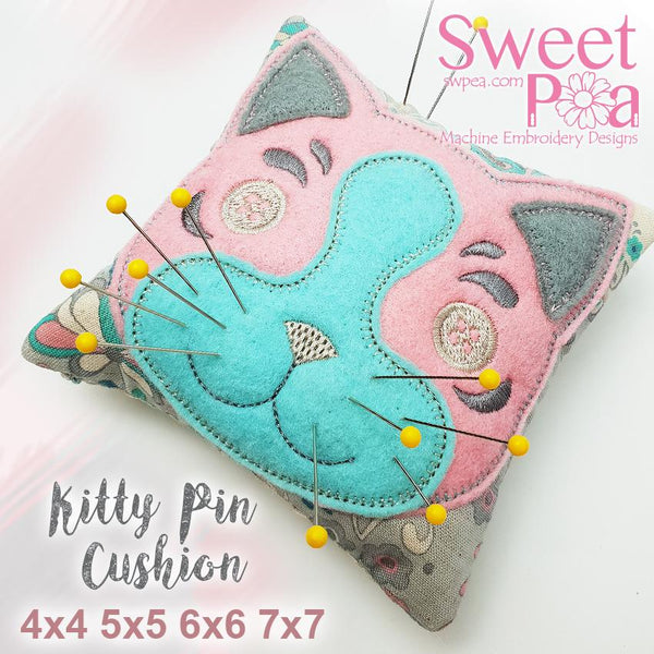 Kitty Pin Cushion 4x4 5x5 6x6 7x7 - Sweet Pea In The Hoop Machine Embroidery Design