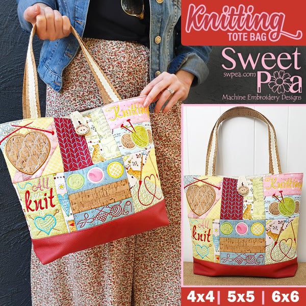 Knitting Tote Bag 4x4 5x5 6x6 - Sweet Pea In The Hoop Machine Embroidery Design